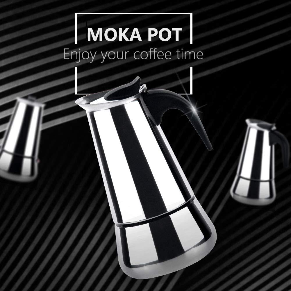 Zeroomade Stovetop Espresso Moka Pot 4-Cup Stainless Steel Mocha Espresso Cappuccino and Latte single-origin pour Percolator Coffee Maker Pot 200ML