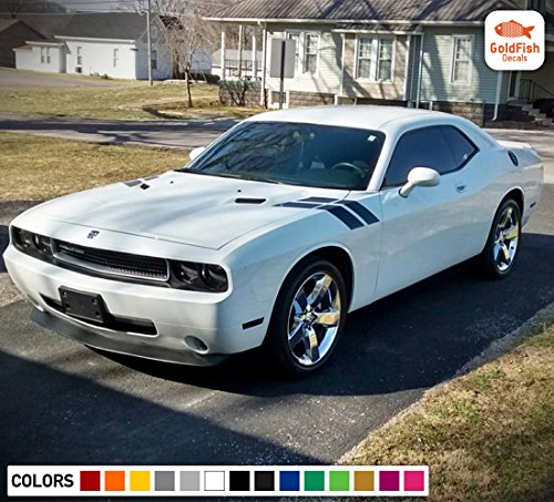 (Gold Fish Decals Decal Graphic Racing Side Hood Fender Hash Stripe Kit for Dodge Challenger RT SRT 2008 2009 2011 2013 2015 2016 2017)