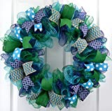 Everyday Mesh Wreath | Year Round Door Decor | Mother's Day Present | Navy Blue Kelly Green Turquoise