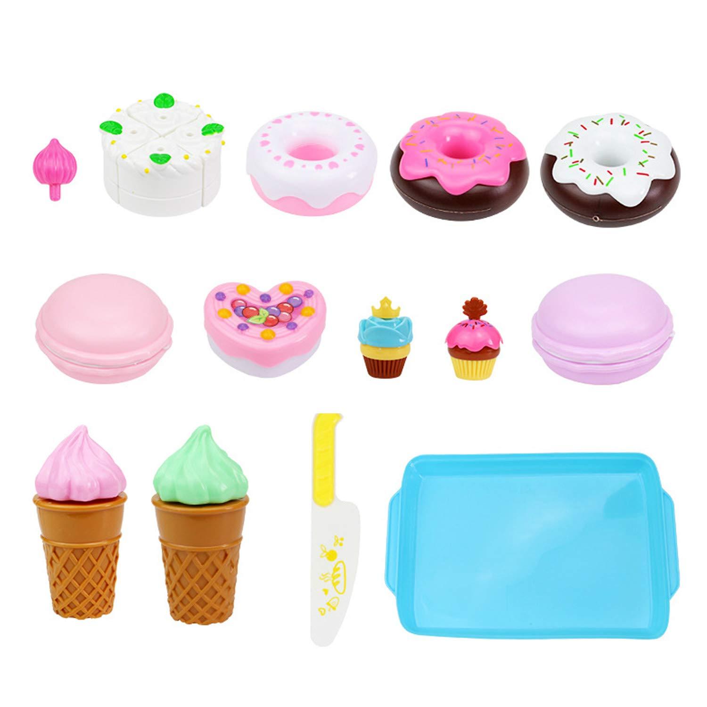Beetest Nourriture de Jouet de Coupe, 17PCS Bricolage Coupe gâteau crème glacée Alimentaire Jouer à Jouer à des Jouets pour Enfants Enfants Filles éducation précoce Cadeaux de noël
