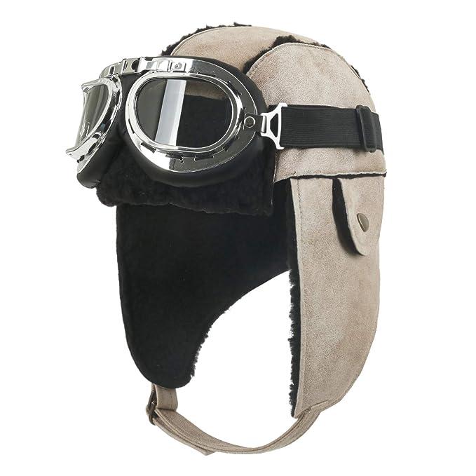 f6e2bd88cbd ililily Aviator Hat Winter Snowboard Fur Ear Flaps Trooper Trapper Pilot  Goggles