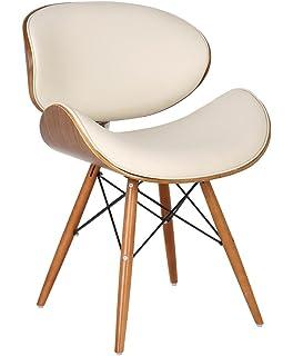 Sillón de estilo de cuero sintético Eames DSW Eiffel Silla de comedor con acabado de madera de nogal y piel de imitación…