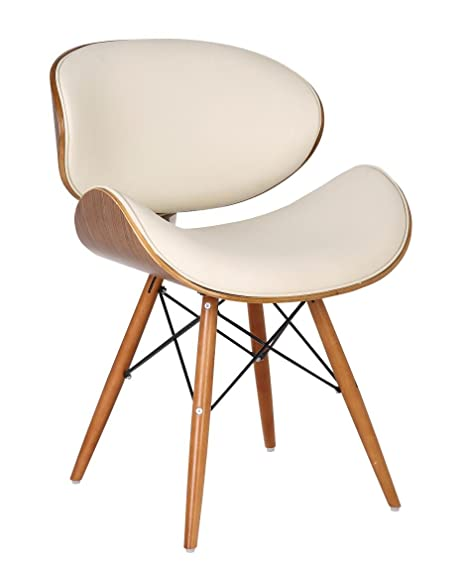 Charmant Retro Style DSW Ivory Faux Leather Eiffel Dining Office Chair Wood Legs  Walnut Finish