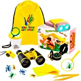 Outdoor Exploration Kit   Kids Binocular, Pretend Bug and Collector, Flashlight, Compass, Magnifying Glass, Whistle & Backpack   Boys Girls Gift Age 3,4,5,6,7,8,9 17 Pieces Yellow