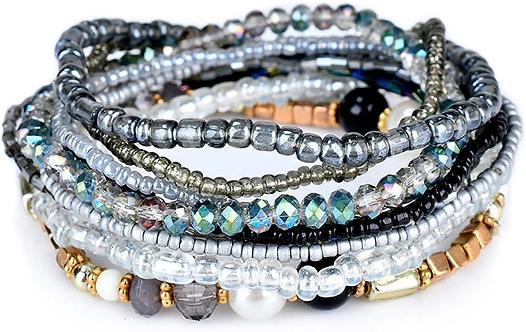 Lunji Bracelet Fantaisie Femme R/étro Bracelet Boh/ème Chic Acrylique et Alliage