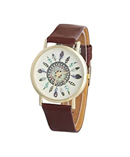 Coromose Womens Unique Vintage Feather Dial Wrist Watch (Brown)