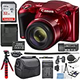 Canon PowerShot SX420 IS (Red) with 42x Optical Zoom and Built-In Wi-Fi Digital Camera & 32GB SDHC + Flexible tripod +AC/DC Turbo travel charger + Extra Battery Along with a Deluxe Bundle