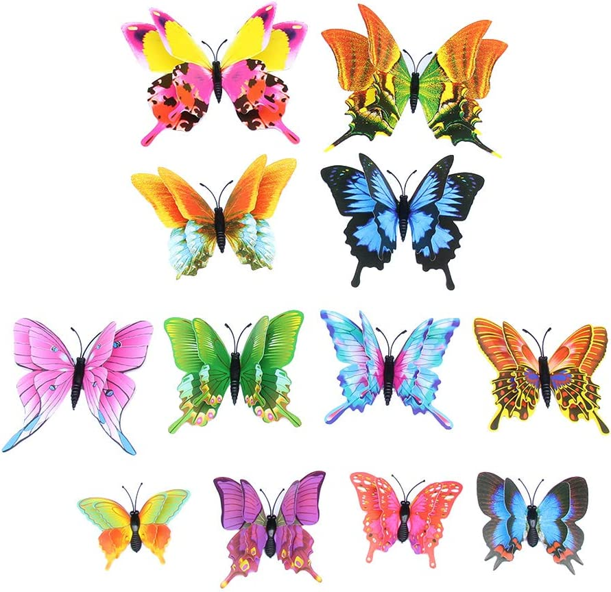 Toyvian 3D Butterfly Wall Stickers Removable Waterproof Double-Deck Butterfly Mural for Home Decoration 12PCS