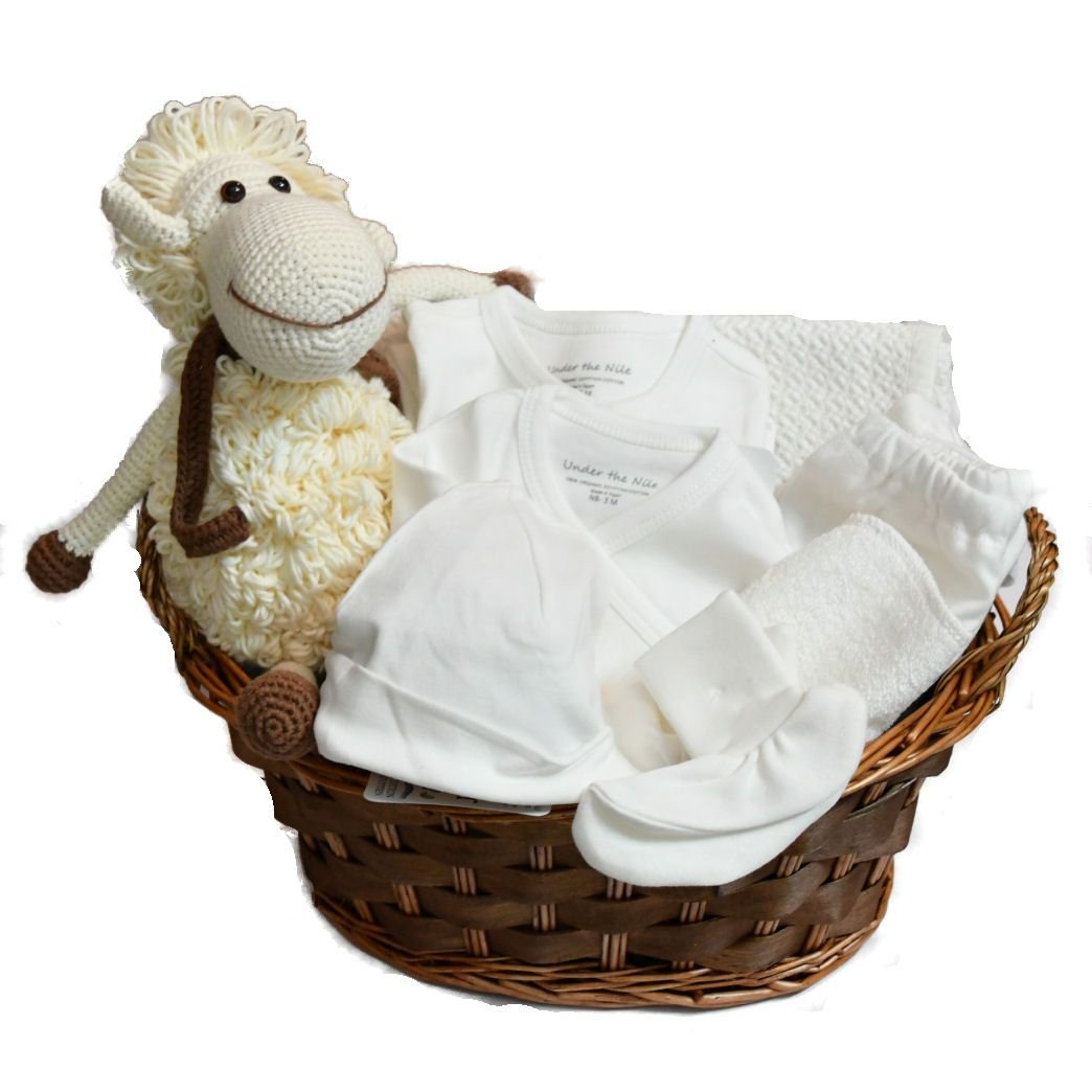 Pure White Organic Layette Gift Basket for Baby - Unisex