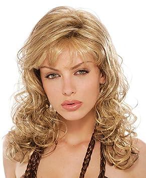 Long Wave Curly peluca rubia con Bangs alta calidad natural ondulado largo sintético suave pelo resistente