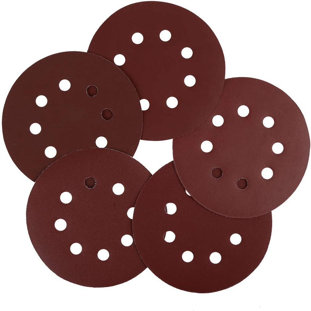 uxcell 50 Pcs 5 Inch 8 Hole Hook and Loop Sanding Discs 320 400 800 1000 2000 Assorted Grits Sandpaper