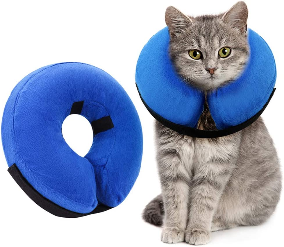 Amazon Com Ahlsenl Inflatable Comfy Cone For Dogs Cats Protective Soft Pet Recovery Collar After Surgery Prevent Dogs From Biting Scratching S Pet Supplies