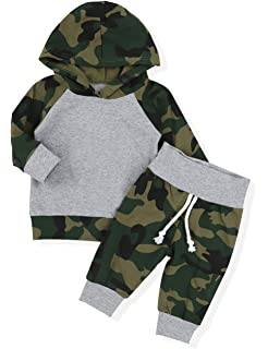 da1854b51 Toddler Infant Baby Boy Clothes Breathable Hoodie Sweatshirt Top + Camouflage  Pants Outfit Sets
