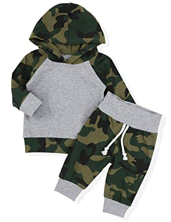 20d1e4057 Infant Newborn Baby Boy Girls Camouflage Clothes Hooded T-Shirt Tops Outfits  + Pants Sets