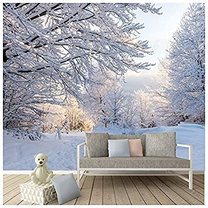 azutura winter woods wall mural white trees forest photo wallpaper