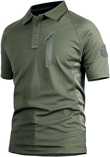 Polo Camuflaje Militar Uniforme táctico de Secado rápido Manga Corta Camiseta de los Hombres Airsoft Combat Caza de la Cremallera Camiseta Verde del ejército Medium: Amazon.es: Ropa y accesorios