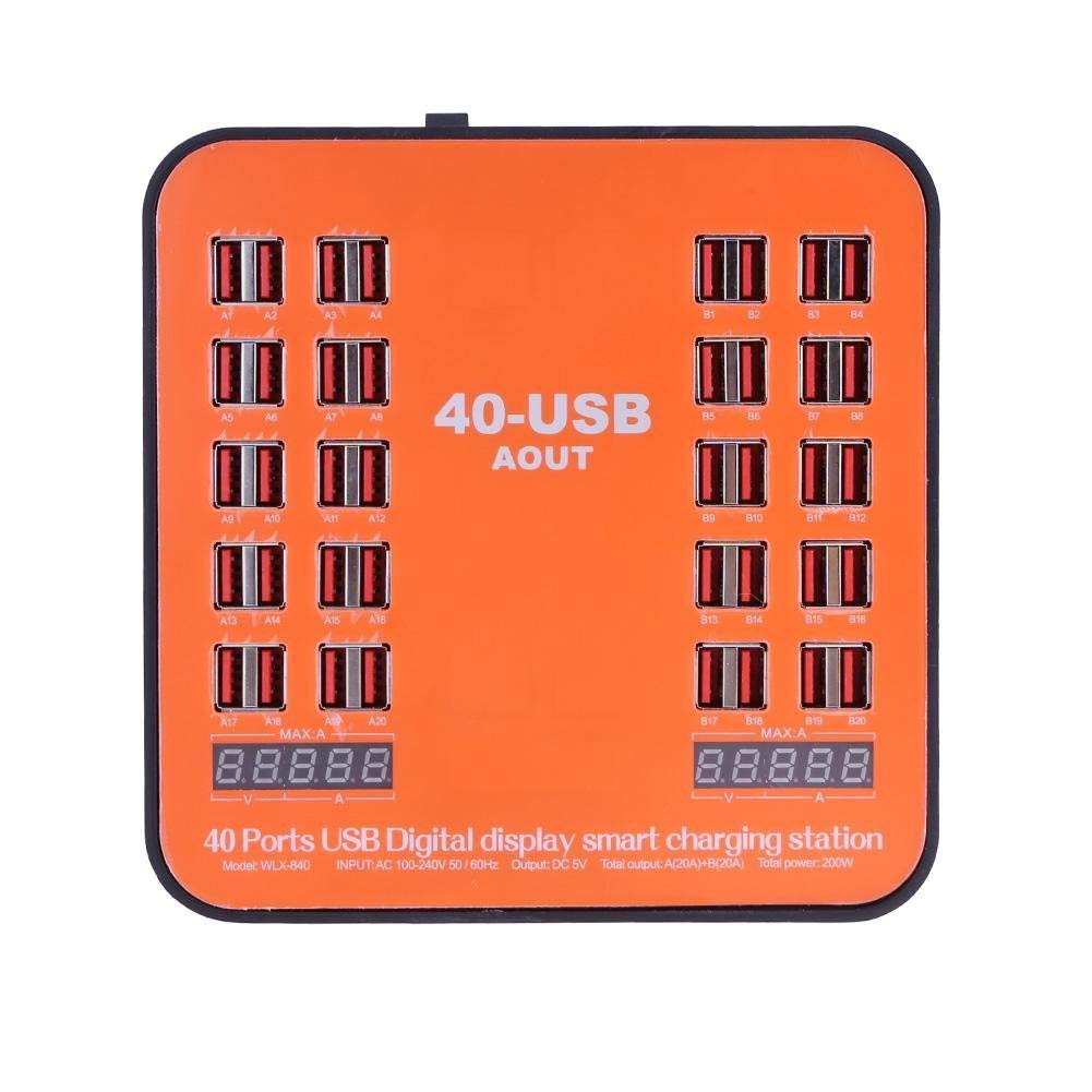 USB Charging Station, 40 Ports USB Power Station,Multi Port USB Wall Charger Adapter, Noninterference Multiport Desktop USB Rapid Charger for Hotel School Shopping malls(2019 New Style)