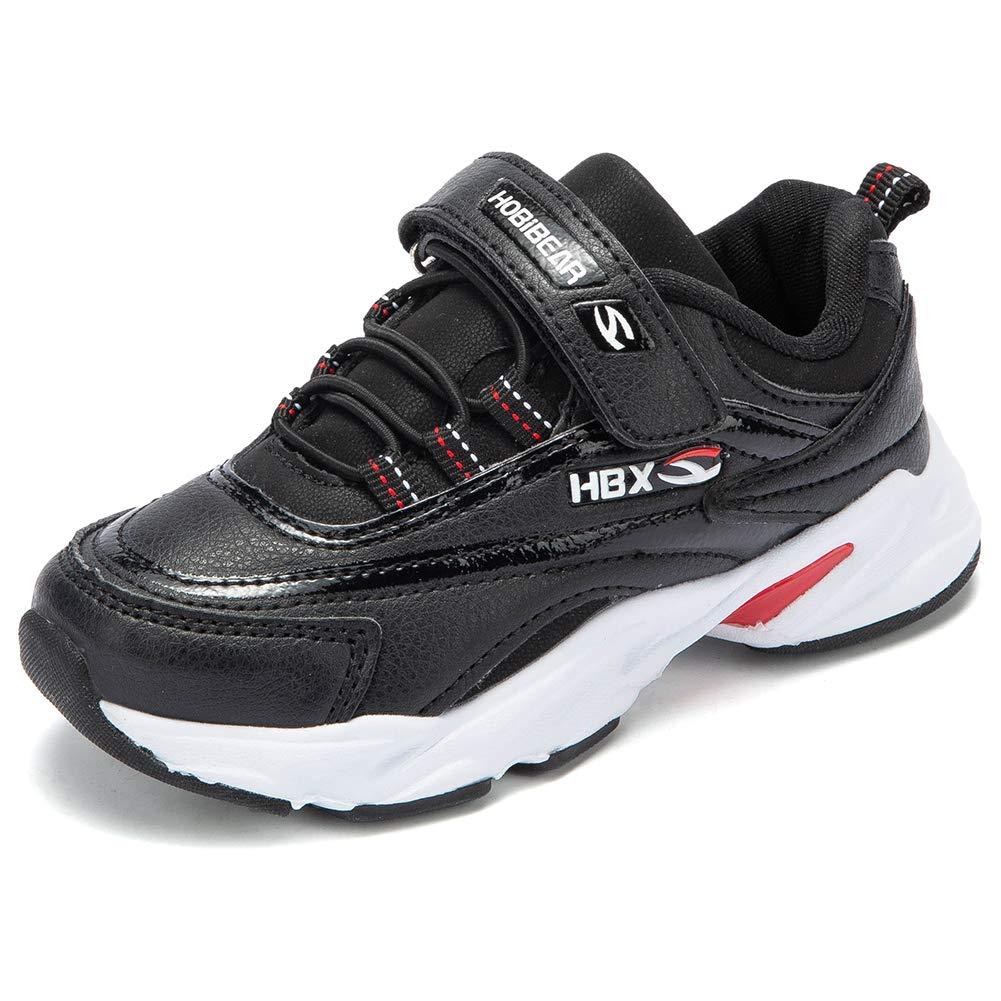 KIIU Kids Running Shoes Sneakers for Boys Lightweight Athletic Tennis Shoes (Black 1.5, Little Kid)