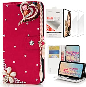 STENES Bling Wallet Case Compatible with Google Pixel XL - Stylish - 3D Handmade Rose Heart Pendant Flowers Design Leather Case with Wrist Strap & Screen Protector [2 Pack] - Red