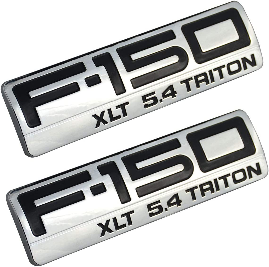 2x Ford F-150 XLT Chrome /& Black Fender Emblem Nameplates LOGO