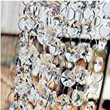 10FT Clear Glass Crystal Garland Strands Chandelier Prism Octagon Beads Chain for Hanging Lamp Chain, Tree Garlands, Christmas Decoration