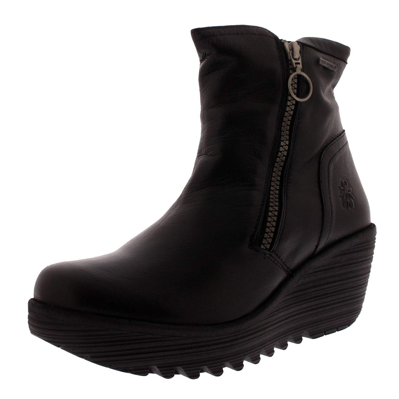 f5b56ab4aebaf Amazon.com | FLY London Women's Yolk Mousse Leather Zip Wedge Boot  Black-Black-4 | Shoes