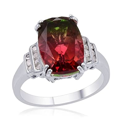 TJC Women Platinum Plated 925 Sterling Silver Ruby and White Topaz Solitaire With Accents Ring Size O UxilCV