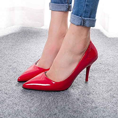 shoes and height Red work multicolor pointed shoes Women's high thin nqwICxSg8p