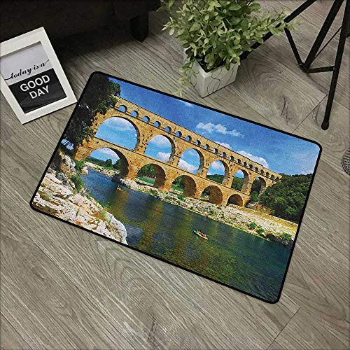 - Buck Haggai Decorative Floor Mat Colorful Landscape,Ancient Roman Heritage Wall Southern France Architectural Historical Landmark, Blue Green Tan,for Indoor/Outdoor/Front Door/Shower Bathroom 24