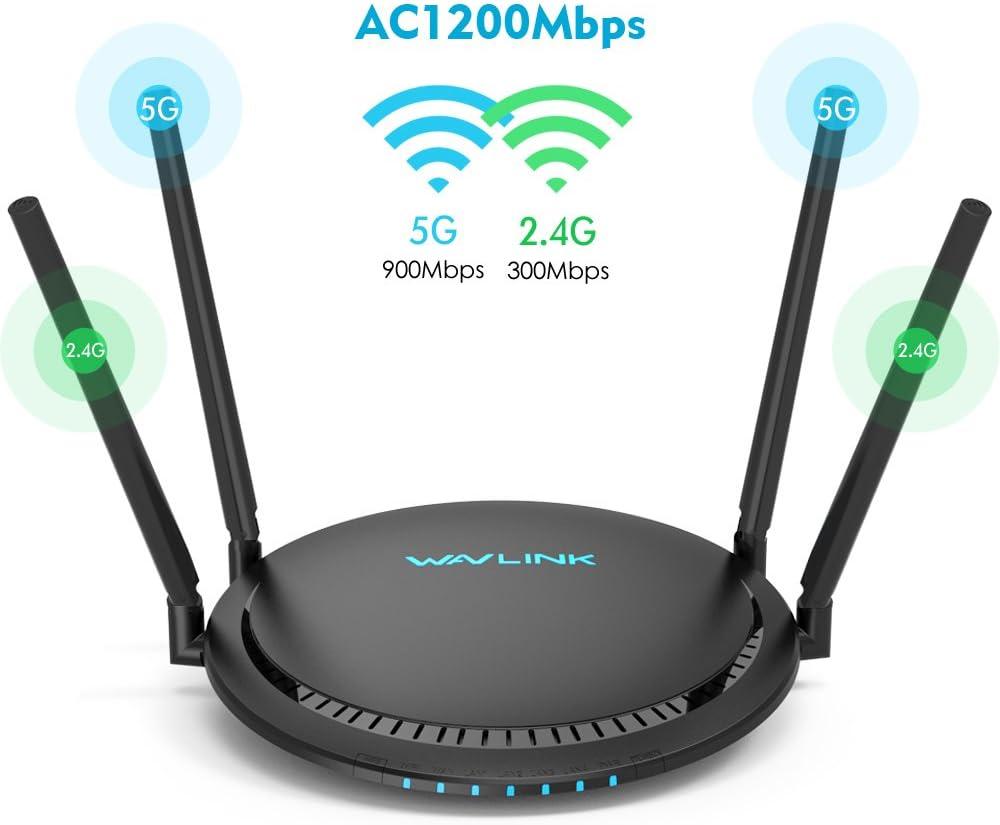 WAVLINK AC1200 Router Dual Banda TouchLink Inalámbrico Wi-Fi Gigabit Ethernet con antena Externa, Extensor de Largo Alcance, 5G 867Mbps + 2.4G ...