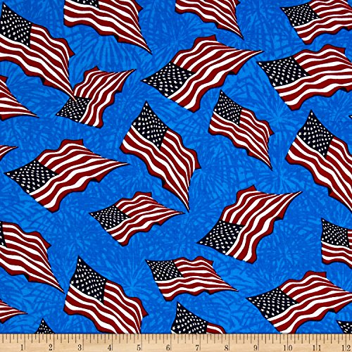 Santee Print Works Made in The USA II Flag Red/White/Blue Fabric by The Yard ()