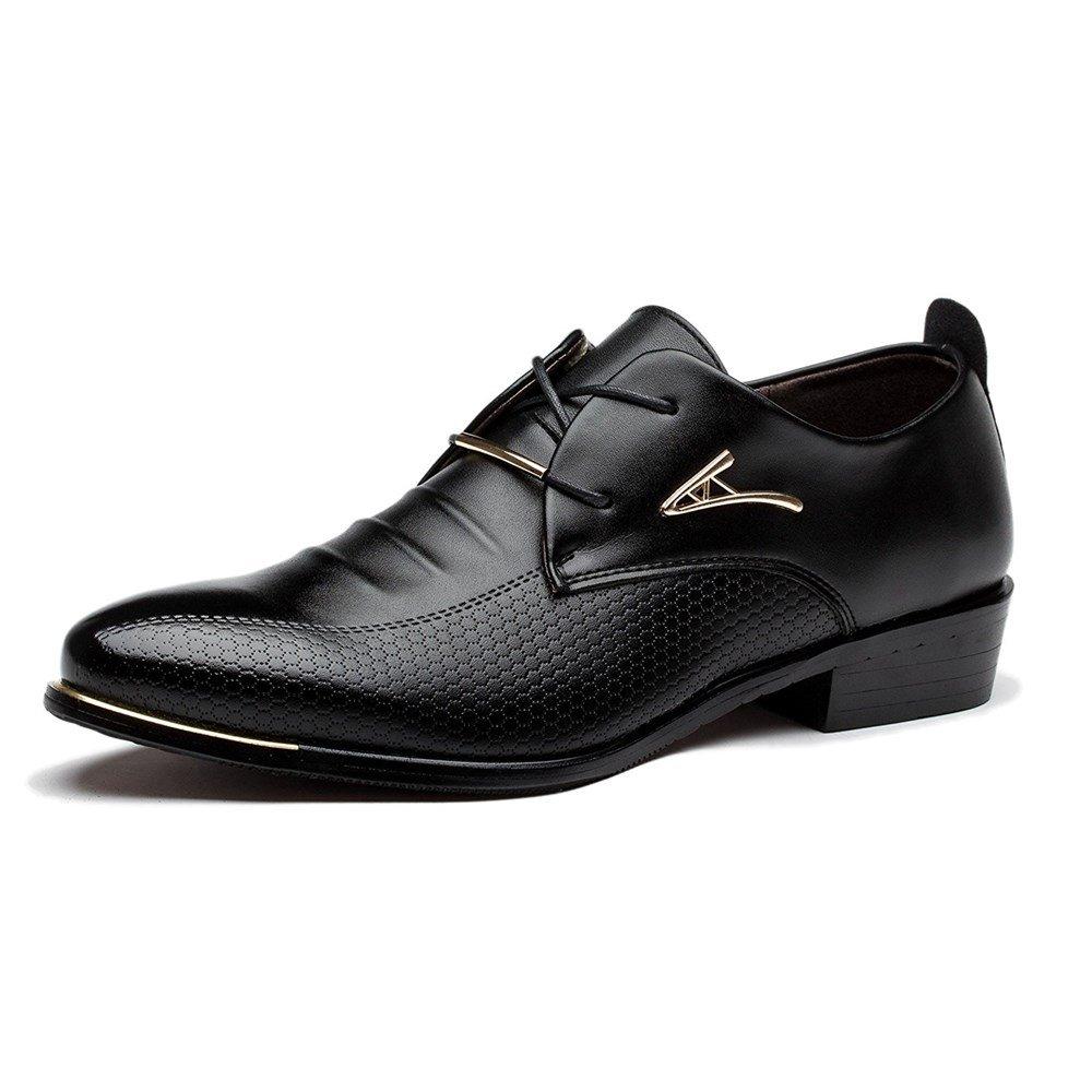 Blivener Men's Pointed Toe Classic Oxford Formal Business Dress Shoes Black US 8.5 by Blivener (Image #1)
