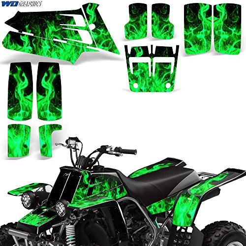 987-2005 Decal Graphic Kit ATV Quad Decal Sticker Parts Deco FLAMES GREEN (Yamaha Atv Graphics Kit)