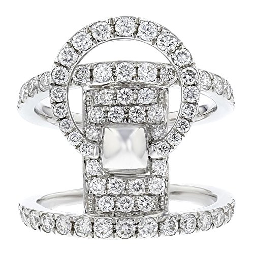 - Women's 18k White Gold and Diamond Double Band Circle Ring (1.36cttw)