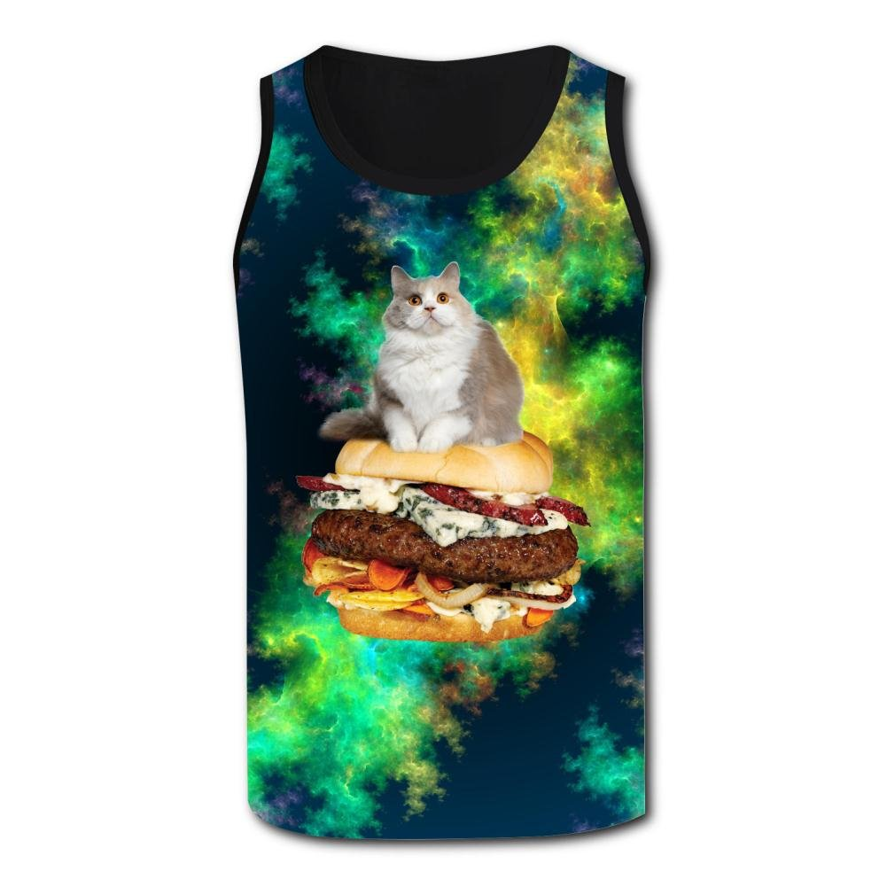 Mens Tank Tops Funny Cat Playing Casual 3D Vest Sleeveless Shirt