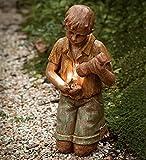 Solar Garden Statue Boy With Flashlight And Frog