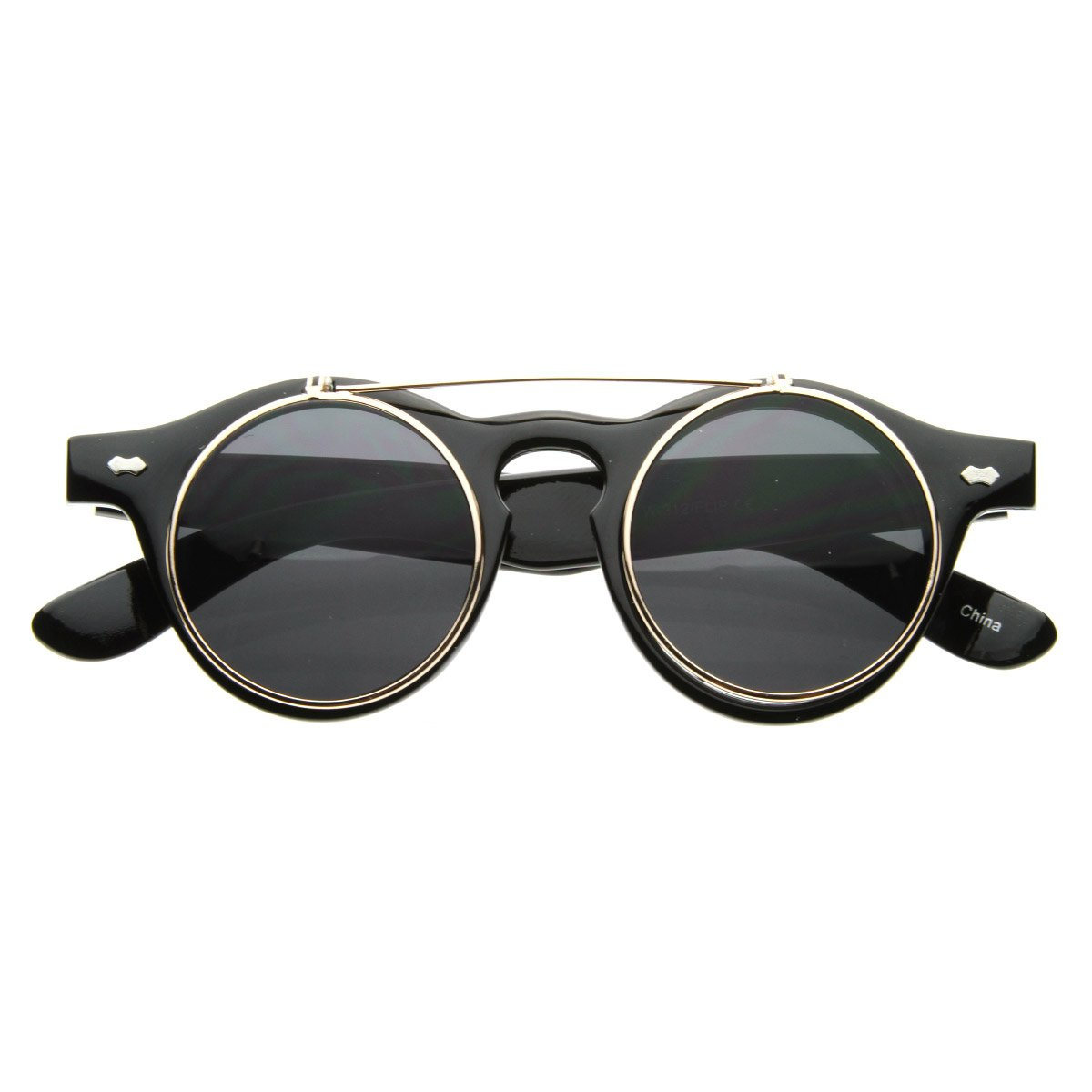 Amazon.com  Small Retro Steampunk Circle Flip Up Glasses Sunglasses (Black  Gold)  Shoes 14dc819102d0