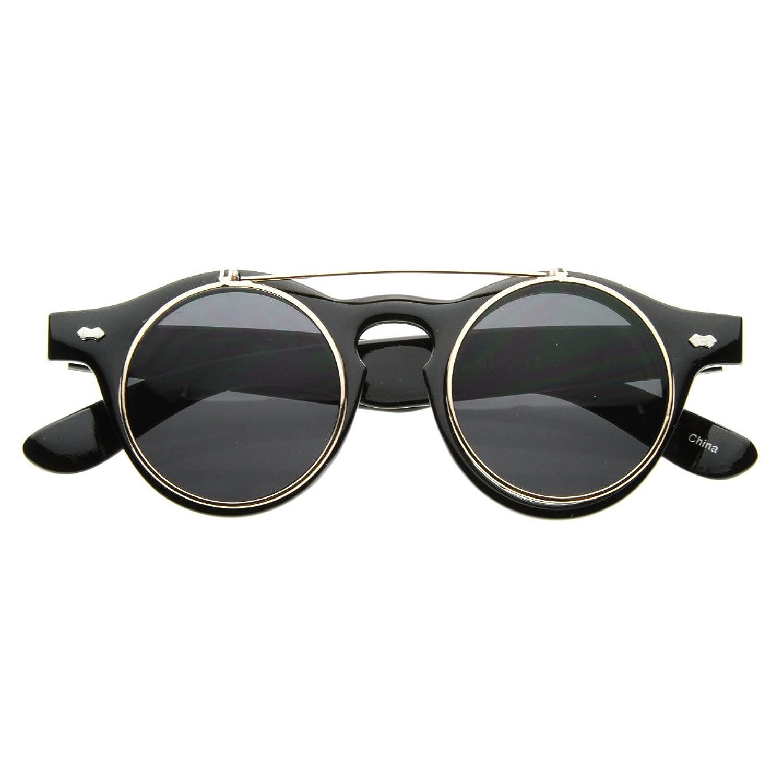 Ray ban sunglasses circle - Amazon Com Zerouv Small Retro Steampunk Circle Flip Up Glasses Sunglasses Black Gold Shoes