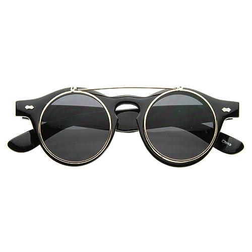 1a8995e4a2 Amazon.com  Small Retro Steampunk Circle Flip Up Glasses Sunglasses (Black  Gold)  Shoes