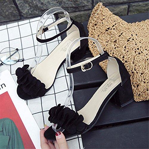 Sandalias Zapatos Solo Las Black Encaje Mujeres De YUCH Hueco Hasp qa0YETqx