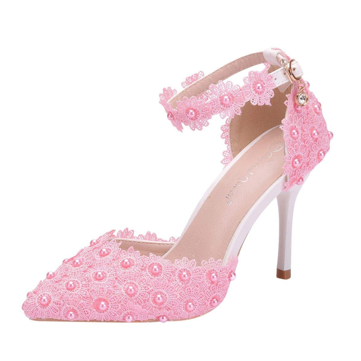 Women Vintage Closed Toe Pumps High Heel Flowers Lace Wedding Bridal Dress Shoes Stiletto Kitten Heels Wedding Pump (Pink, 5)