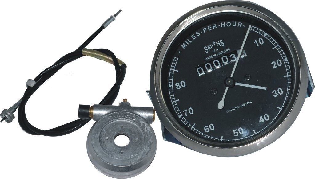 RS Vintage Parts RSV-B017BEN1JE-01358 Motorcycle Parts A33 Smith Replica Speedometer Black Faced Bsa Royal Enfield 0-80 Mph + 54 Inches Long Speedometer Cable