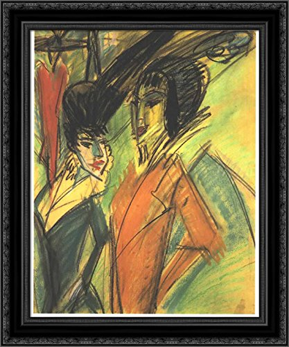 Two Cocottes 24x20 Black Ornate Wood Framed Canvas Art by Ernst Ludwig ()