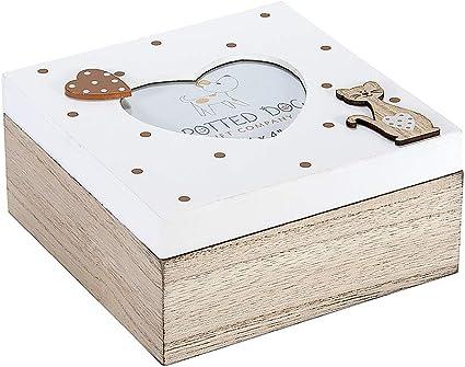 Caja de Madera con Tapa Decorada con Marco de Fotos en Forma de Corazón para Caja de Baratijas, Joyas y Recuerdos, Diseño de Gato Marrón y Blanco, Regalo Originales para Mujer: Amazon.es: