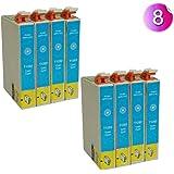 4 x T1282 Cyan/bleu cartouches d'impression compatibles pour imprimante epson stylus S22 SX125 SX130 SX420W SX425W SX430W SX438W SX440W SX445W OFFICE BX305F BX305FW Plus &