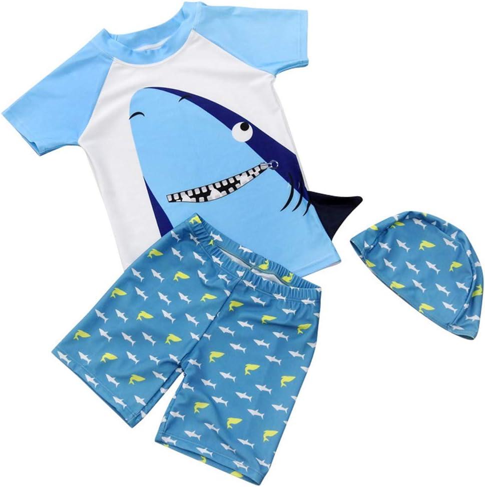 XuBa 3Pcs/Set Boy Swimsuit Tops + Shorts + Hat Shark Teeth Fast Dry Sunscreen Baby Swimwear as Shown XL