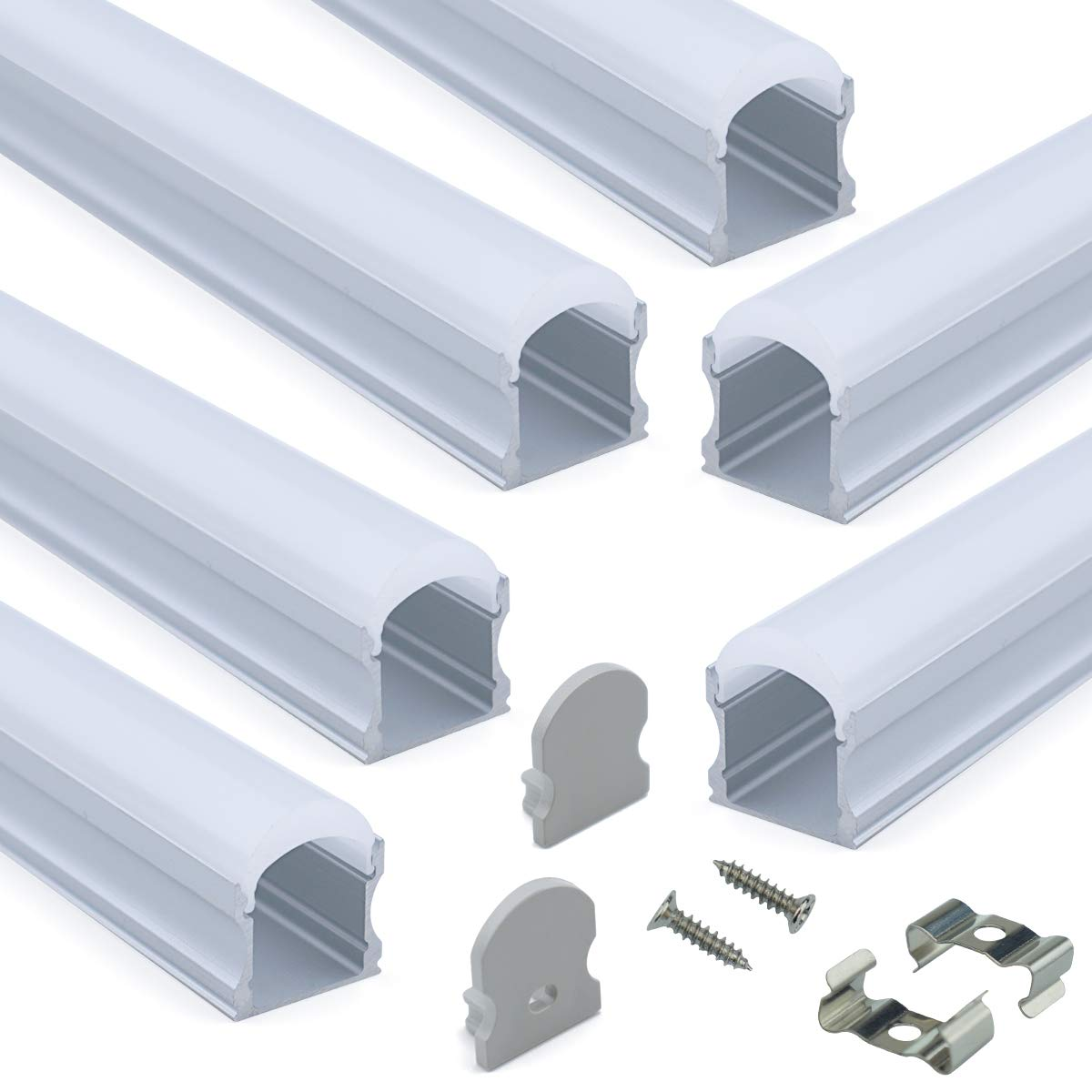 Muzata 6-Pack 3.3ft/1Meter 17x20mm U Shape LED Aluminum Channel System with Cover, End Caps and Mounting Clips Aluminum Profile for LED Strip Light Installations, Diffuser U108,Series LU2 LN1