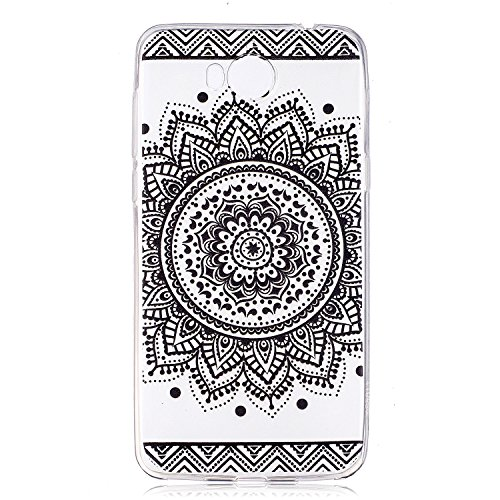 Funda para Huawei Y5 2017 / Y6 2017 (No disponible para Huawei Y6 Pro 2017) , IJIA Transparente Negro Flor De Mandala TPU Silicona Suave Cover Tapa Caso Parachoques Carcasa Cubierta para Huawei Y5 201 HX27