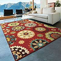 Orian Rugs Indoor/Outdoor Medallion Hubbard Brick Red Area Rug (52 x 76)