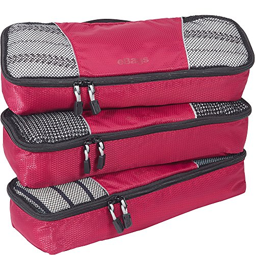 eBags Slim Classic Packing Cubes for Travel - Organizers - 3pc Set - (Raspberry)